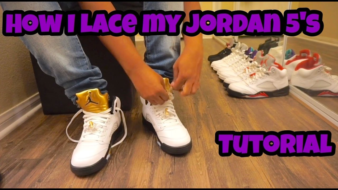 2eba1fb03bf9 Tutorial  How To Lace Air Jordan 5 s - YouTube