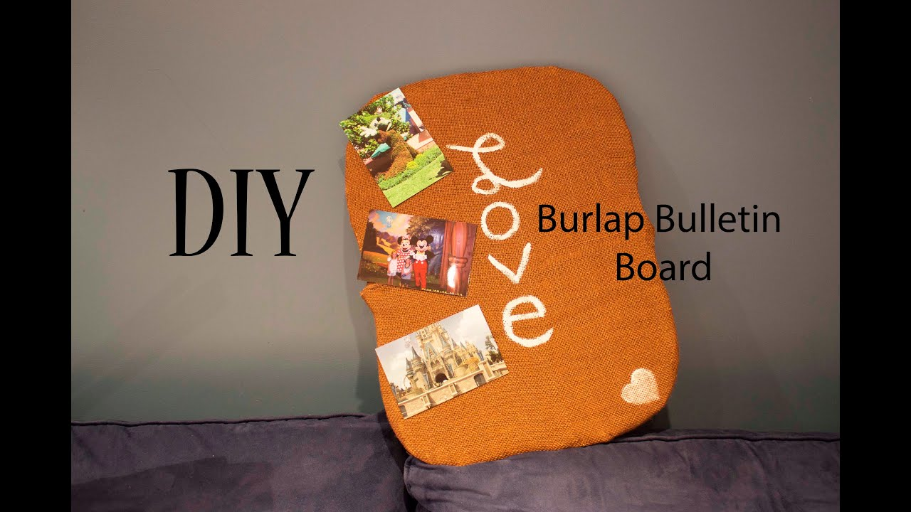 Diy burlap bulletin board dorm bedroom project youtube for Diy bulletin board for bedroom