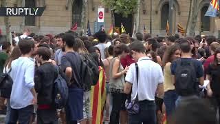 Protesta estudiantil en Barcelona contra las detenciones de la Guardia Civil