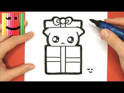 Coloriage Chat Cadeau.Comment Dessiner Et Colorier Un Chat Kawaii Dans Un Cadeau