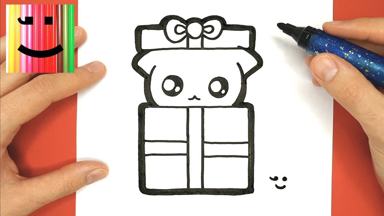 How To Draw And Color Baby Cat In Christmas Gift
