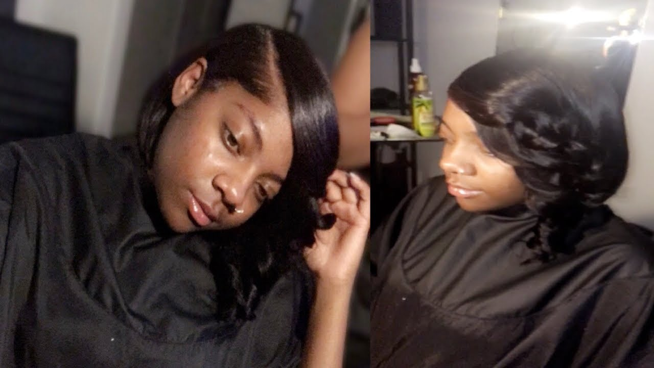 How To Blunt bob quick weave with deep side part , YouTube