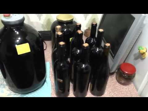 Домашнее вино из винограда, сорт Ливадийский черный. Снятие с виного камня и розлив по бутылкам.