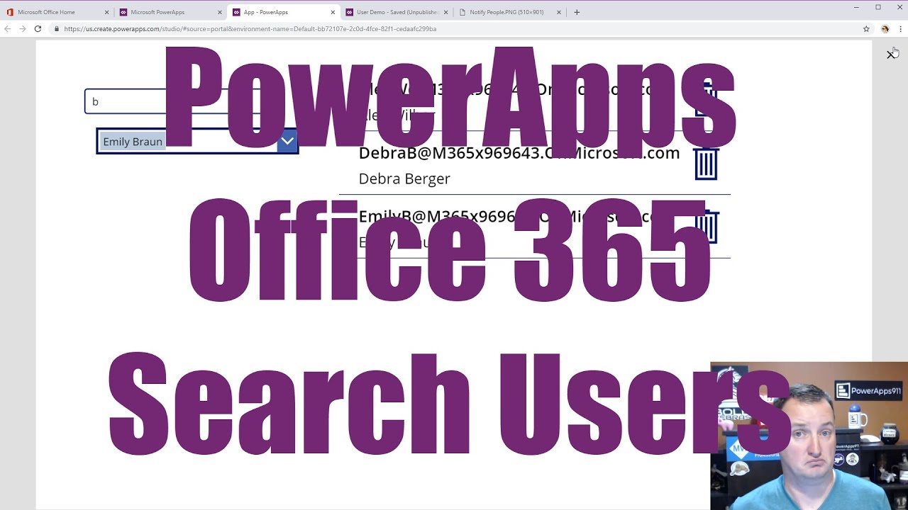 PowerApps Office 365 User Search