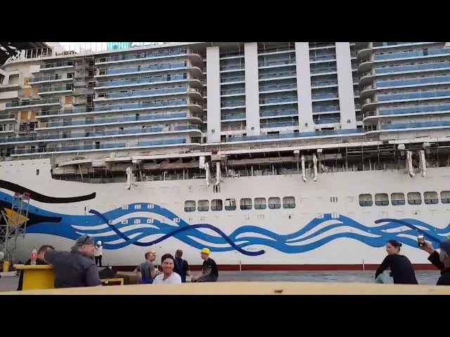 AIDA Nova time-lapse video 3. Float out, Meyer Werft, Germany. Bow view.