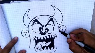 Learn to draw a graffiti Devil cartoon