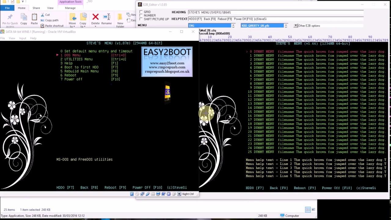 The Easy2Boot USB Multiboot Menu Editor (E2B - Tip #7)