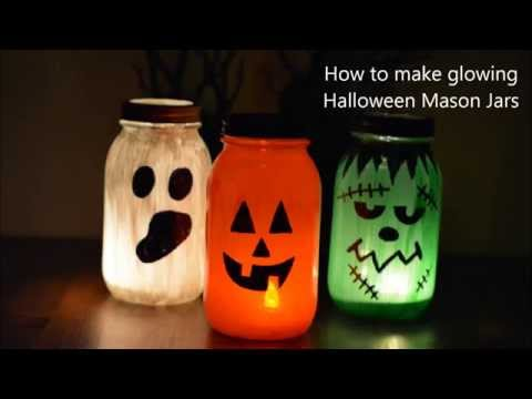 How To Make Painted Glowing Mason Jars For Halloween YouTube