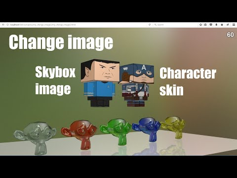 Interactively Change A Character's Skin And A Skybox Image In A Web Browser Using JavaScript Code