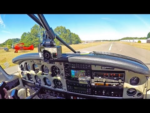 2015 Simsbury fly-in & car show, flight and show. Piper Warrior flight ATC
