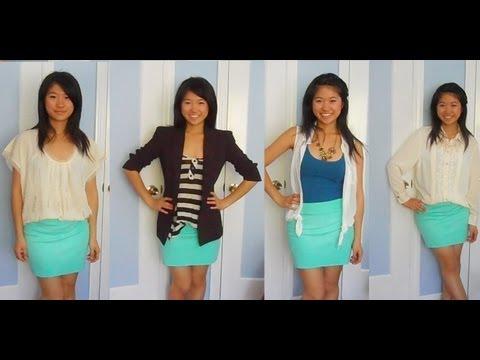 Lookbook: 4 Ways to Style a DIY Mint Skirt