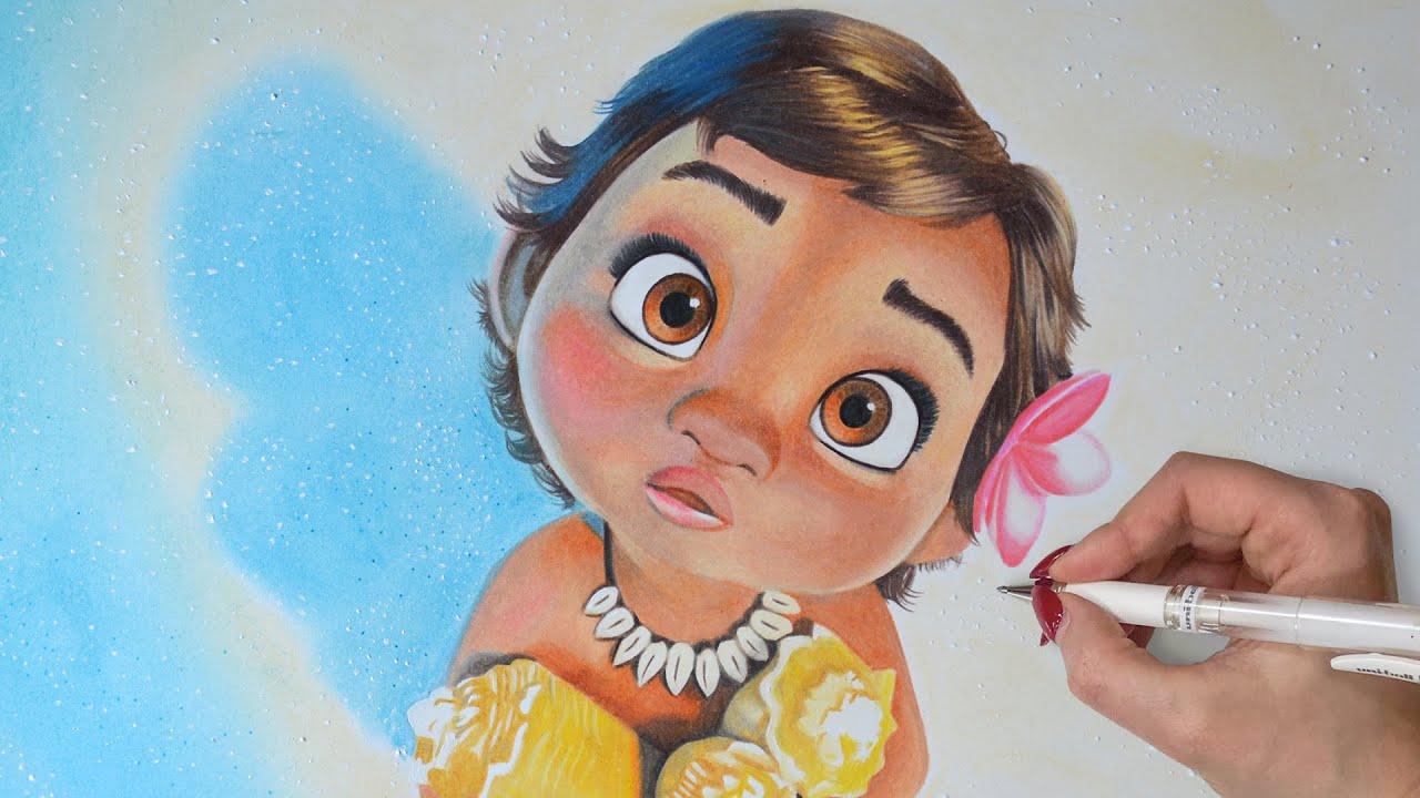 baby moana drawing disney art youtube