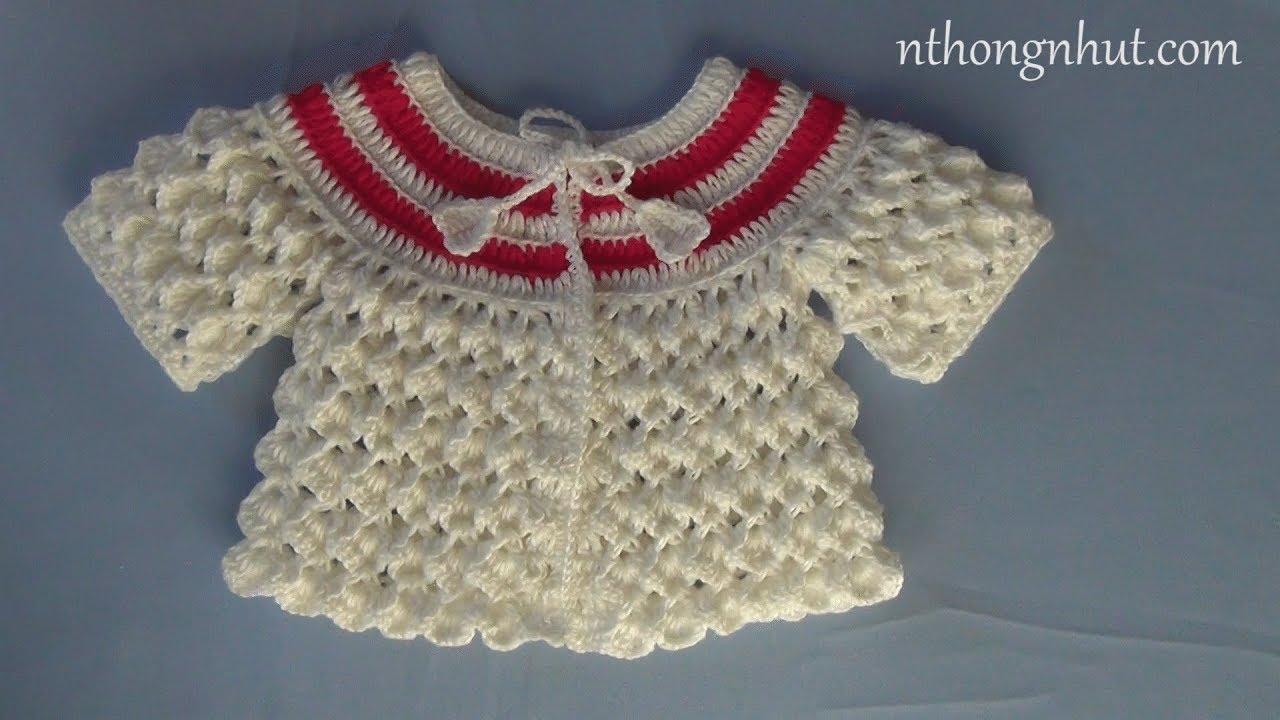 Crochet 3D baby sweater tutorial (Eng sub) I Cách móc áo len họa tiết 3D cho bé gái