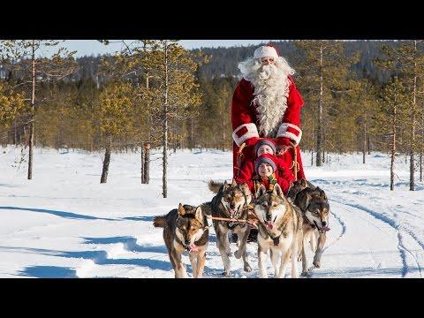 Video per i bambini:  Babbo Natale  e cani husky - Lapponia Finlandia Rovaniemi