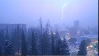 Редкие кадры апокалипсис в Сочи.Погода. Крупный град. Гроза и гром,как мощный гигантский фейерверк.