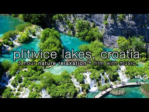 [HD]  Plitvice Lakes, Croatia 5HR Nature Relaxation Video w/ Instrumental Harp, Flute & Piano Music