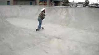 5 yr old on Scooter at Sno skatepark