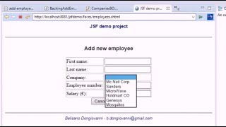 JSF and JDBC eclipse project #8 - Using JSF h:selectOneMenu to select a value from a list