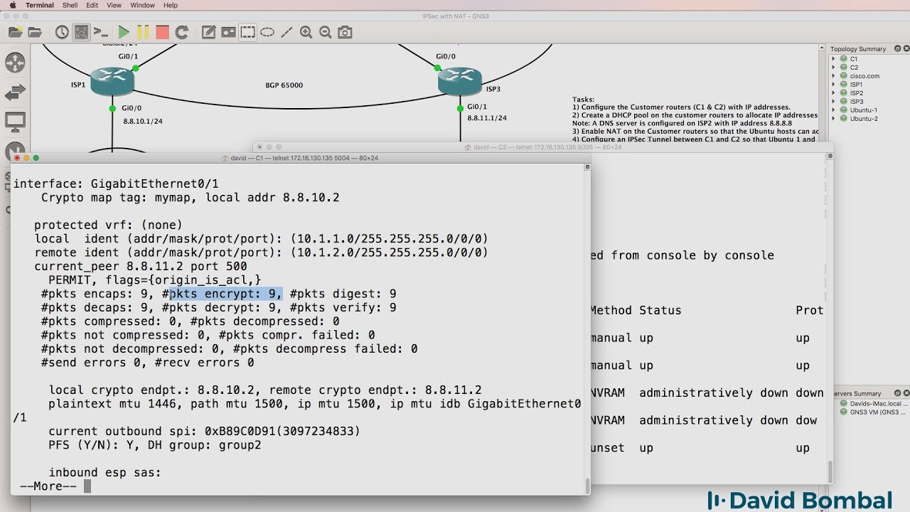 GNS3 Labs: IPsec VPN with NAT across BGP Internet routers