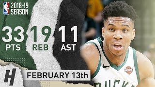 Giannis Antetokounmpo EPIC Triple-Double Highlights vs Pacers 2019.02.13 - 33 Points, 19 Reb, 11 Ast