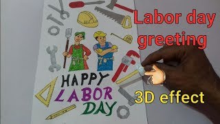 How to draw labor day chart || labor day greeting card || labor day card making ideas