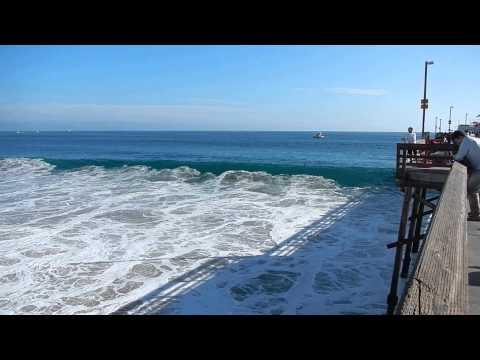 The Waves were Crashing along Balboa Pier in Newport Beach, California