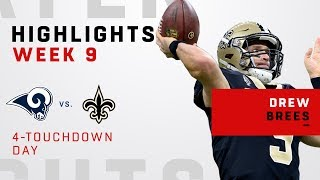 Drew Brees Busts Out 4 TD Passes vs. Rams