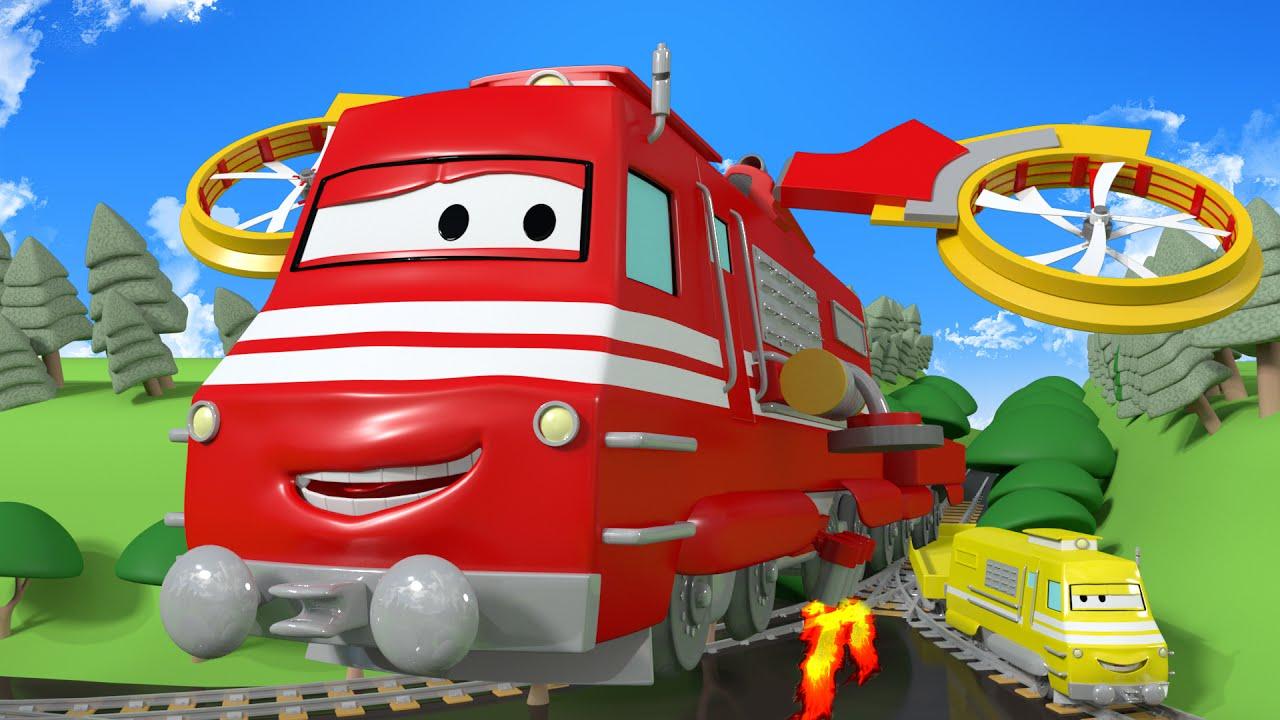 El tren helic ptero troy el tren en la cuidad de trenes - Dibujos de pared para ninos ...