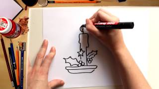 How to draw a Christmas Candle - drawing with kids