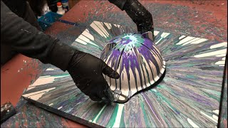 Fluid Painting Extreme Acrylic Pouring!! Colander Spin Must See!! Please Share and Subscribe..