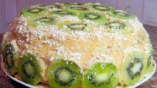 Бисквитный торт с киви и бананом