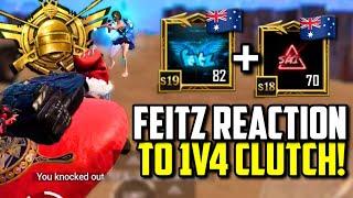 FEITZ REACTION TO INSANE 1V4 CLUTCH IN 36 KILL GAMEPLAY! | PUBG Mobile