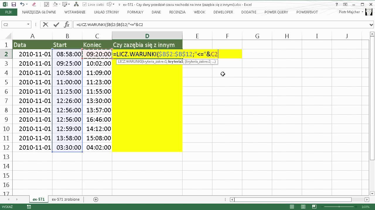 Excel 571 Czy Dany Przedział Czasu Nachodzi Na Inne Zazębia Się Z
