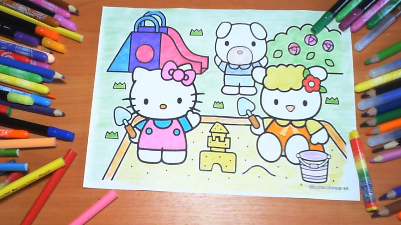 hello kitty new coloring pages for kids colors coloring colored markers felt pens pencils