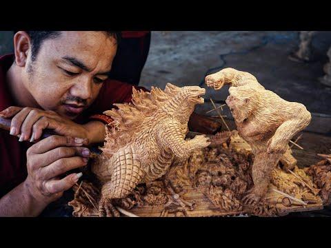 Godzilla vs Kong Wood Carving - 10 Days of Making Amazing Woodworking