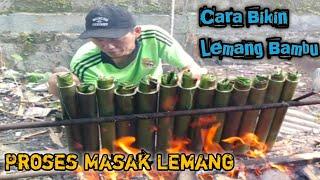 Proses masak lemang bambu ( Kuliner indonesia )