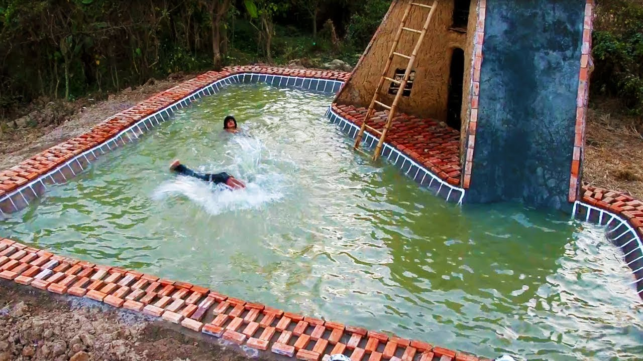 Build water slide house and swimming pool full video - How to build a swimming pool slide ...