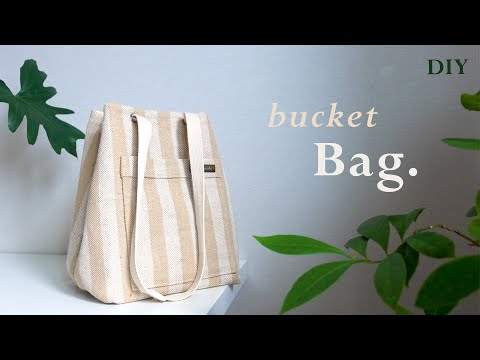 sub) DIY / BUCKET BAG, 지금 매고 싶은 가볍고 예쁜 버킷백 만들기, 아일렛 다는 방법 / a bucket bag sewing tutorialㅣsquare sand