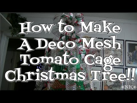 Make a Deco Mesh Tomato Cage Christmas Tree!! Noreen's Kitchen