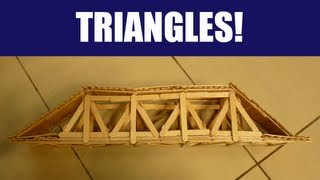 In this video I will be demonstrating how to optimise your truss popsicle stick bridge with triangles. It also shows compression and