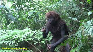 Solo Bushcraft - Smart Girl Finding Food In The Forest meet Aboriginal Guy - Eating guava fruit