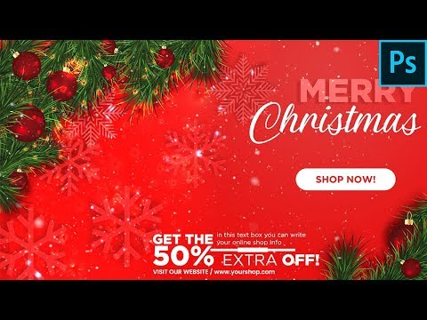 How to create a Christmas Banner In Photoshop - Photoshop Tutorial Hindi/Urdu - Momentos Picture thumbnail