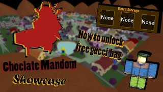 [Project Jojo/PJJ] Chocolate Mandom Showcase | How to Unlock free Gucci Bag | PJJ - ROBLOX