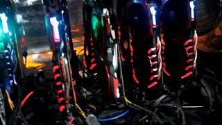 8 MSI Gamining X GPUs mining on the Gigabyte z270p-D3 245 mhs ethereum