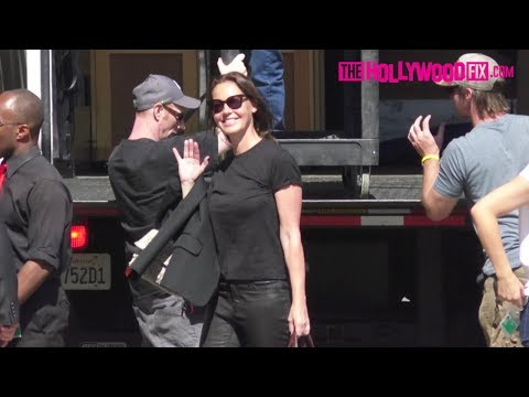 Connie Nielsen Gives A Wave While Arriving To Jimmy Kimmel Live! Studios 5.24.17