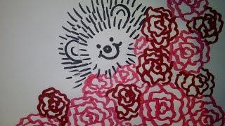 Ёжик с букетом цветов. Рисуем, оформляем открытки на 8 марта, день матери или день рождения
