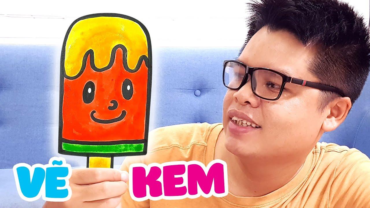 Dạy vẽ que kem từng bước dễ hiểu ♥ How to draw an ice cream ♥