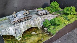 """видео: ДИОРАМА С ТАНКОМ Pz. 4 """"Танк едет через мост и буксирует автомобиль"""" СВОИМИ РУКАМИ. Tank diorama WW2"""