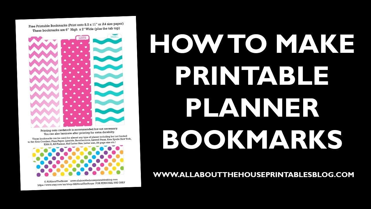 How To Make Planner Bookmarks Page Divider Tabs Youtube
