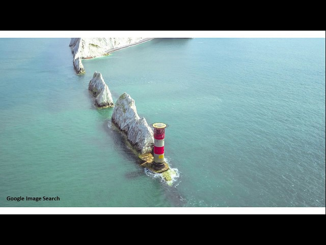 Viewing the Needles Lighthouse from Swanage through a telescope.